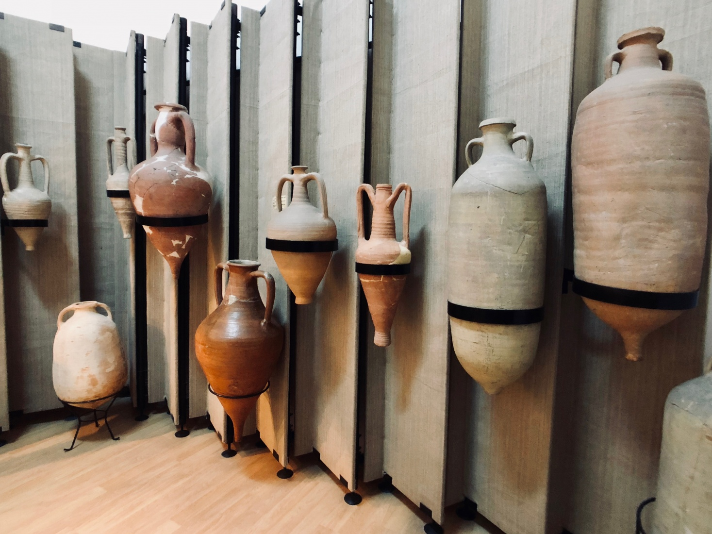 Roman amphorae in the National History and Archaeological Museum in Constanța, Romania.