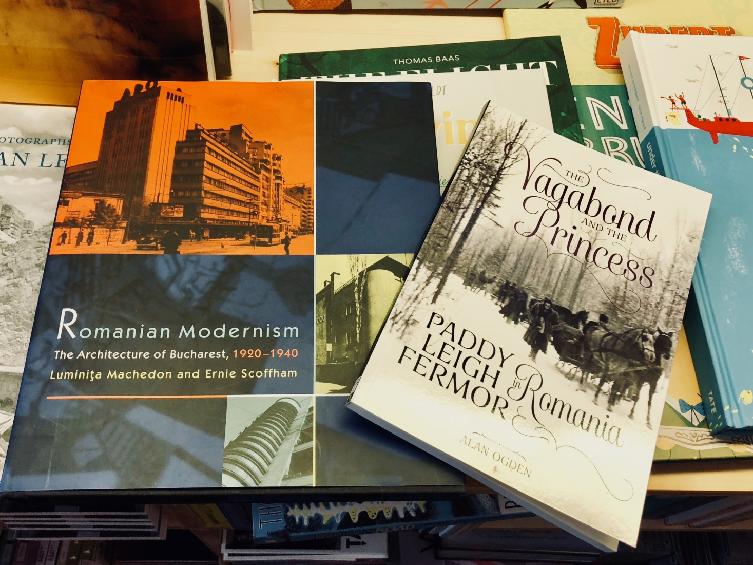 A book about Romanian Modernism and Alan Ogden's 'Vagabond and the Princess' at Bucharest's English Bookshop, 'Cărturești & Friends', in Bucharest, Romania.