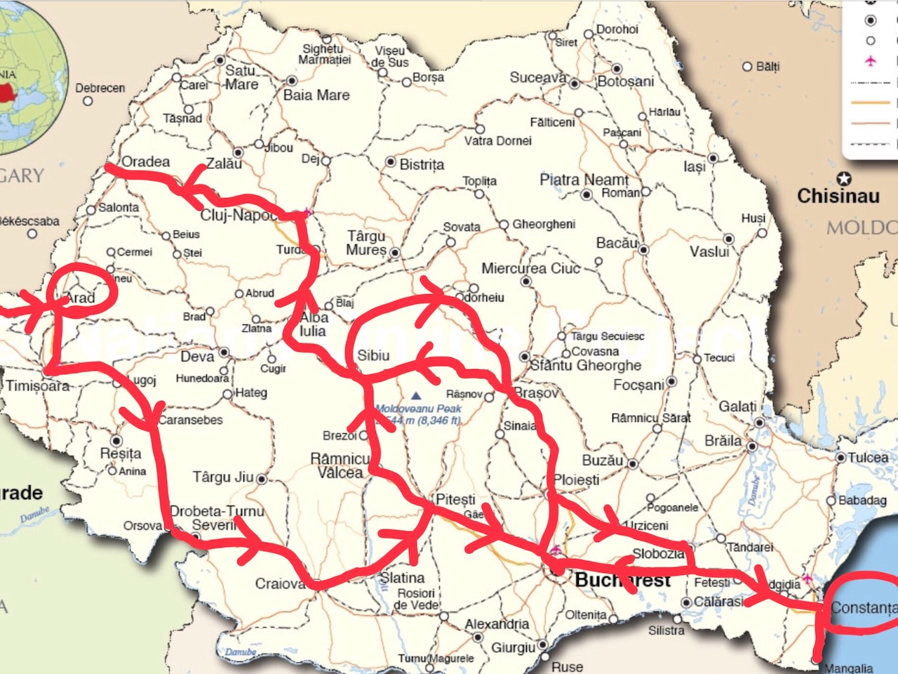 Map of Mark's journey across Romania.