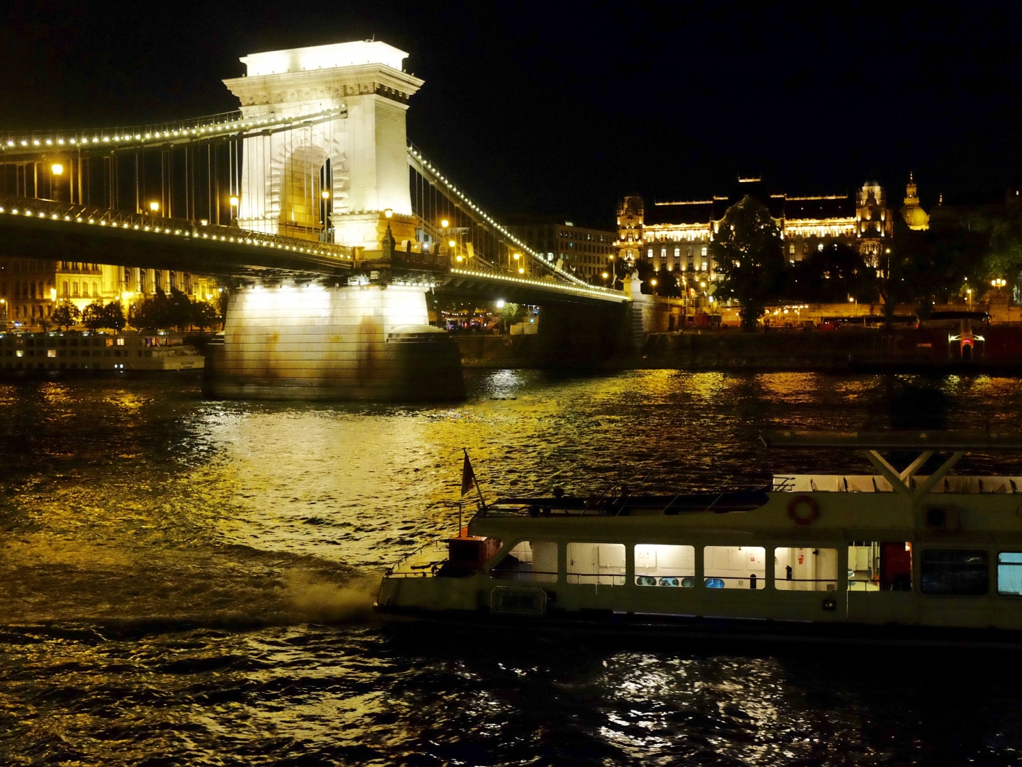 Night cruise along the Danube in Budapest, Hungary.