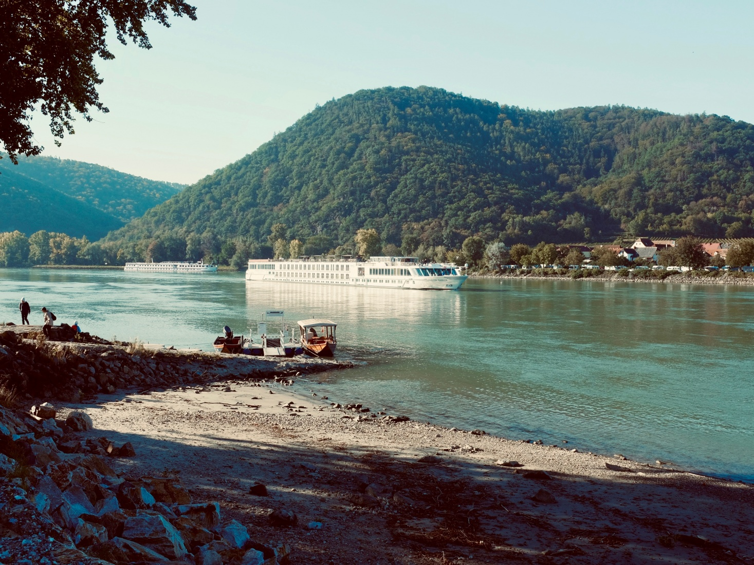 A view of the Danube and a ship from the bike ride in the Wachau Valley of Austria.