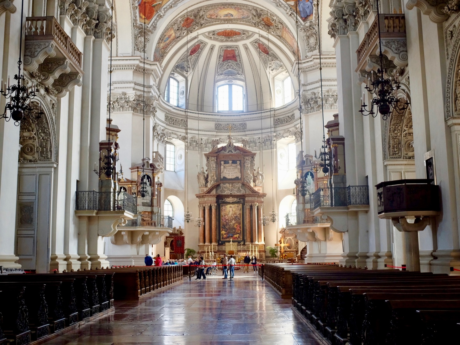 Interior of the 17th-century baroque cathedral in Salzburg, Austria.