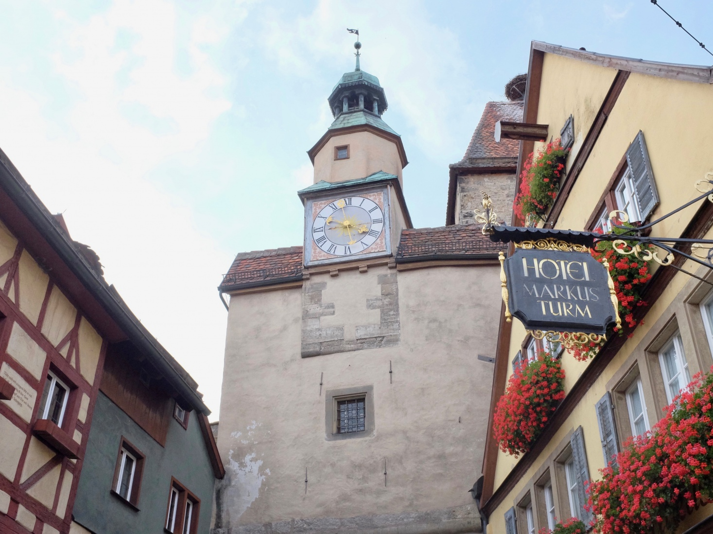 The town center in the medieval town of Rothenburg ob der Tauber, Germany, along the country's Romantic Road.