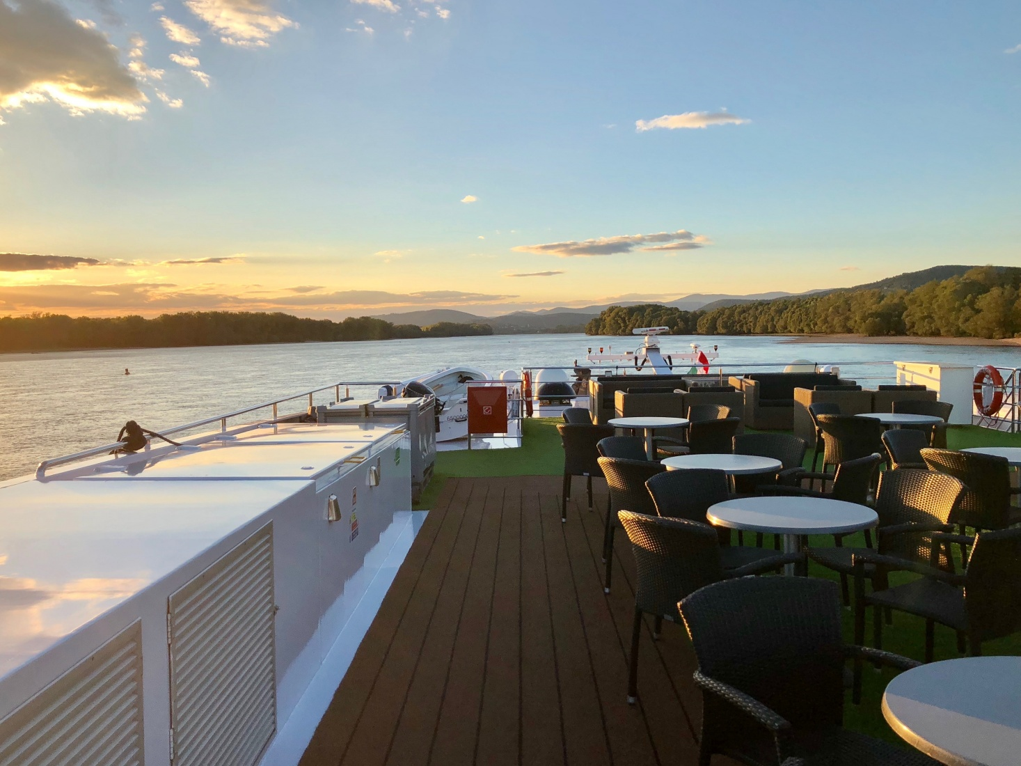 The sunset from the top deck of the National Geographic ship, on the Danube somewhere in Slovakia, near the Austrian border.