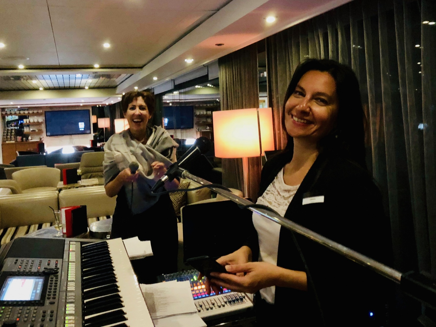 Susan (left) and our onboard singer and musician, Jelena, on board the National Geographic ship.
